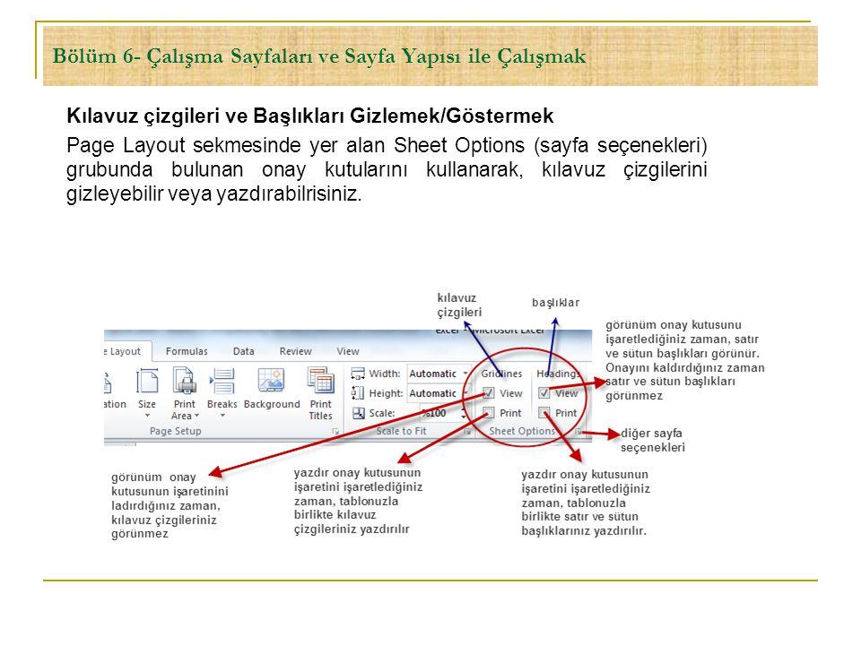 Bölüm 6- Çalışma Sayfaları ve Sayfa Yapısı ile Çalışmak