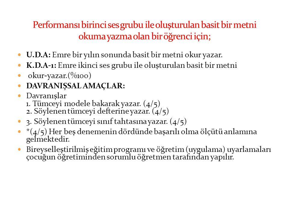 Performansı birinci ses grubu ile oluşturulan basit bir metni okuma yazma olan bir öğrenci için;