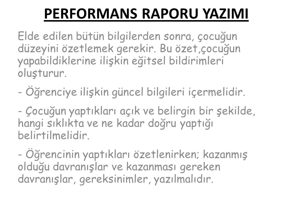 PERFORMANS RAPORU YAZIMI