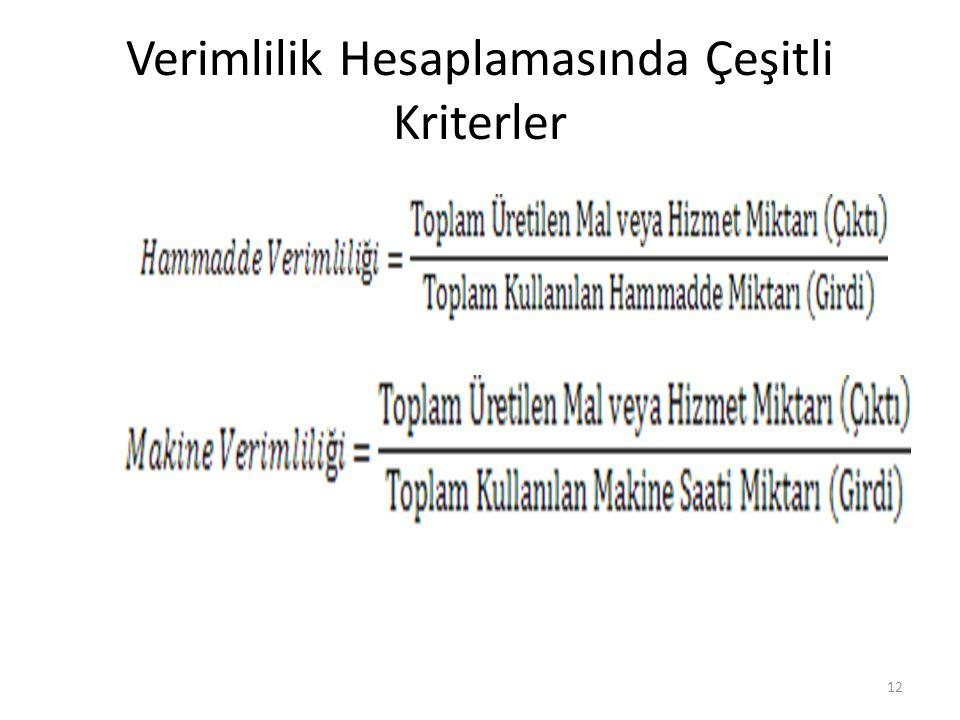 Verimlilik Hesaplamasında Çeşitli Kriterler