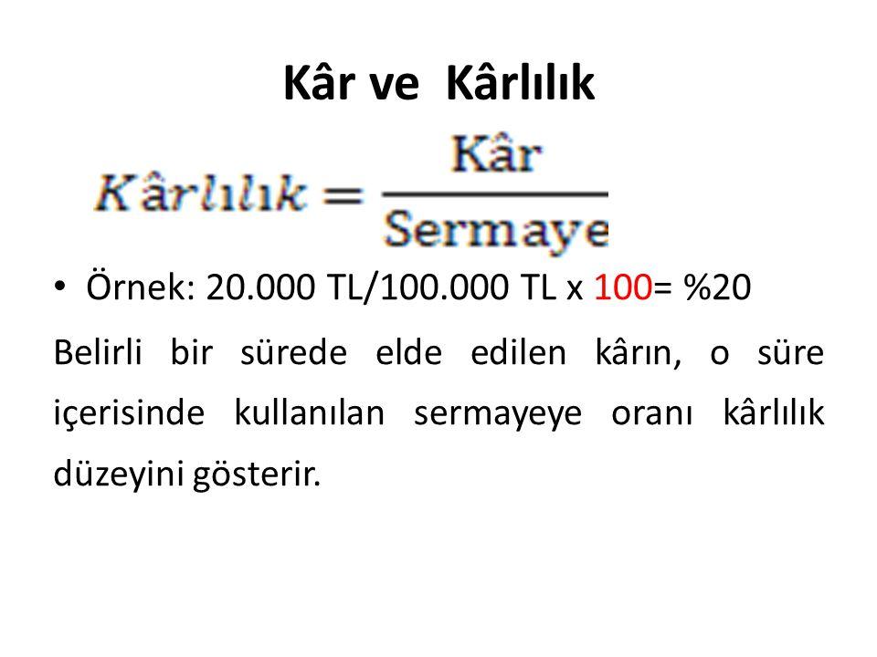 Kâr ve Kârlılık Örnek: 20.000 TL/100.000 TL x 100= %20