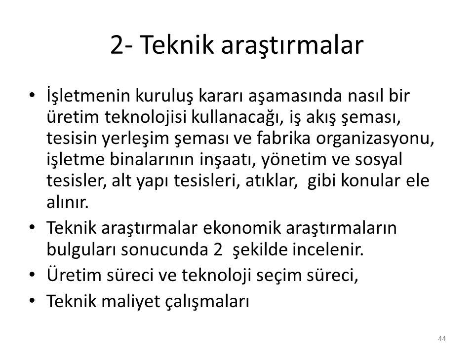 2- Teknik araştırmalar