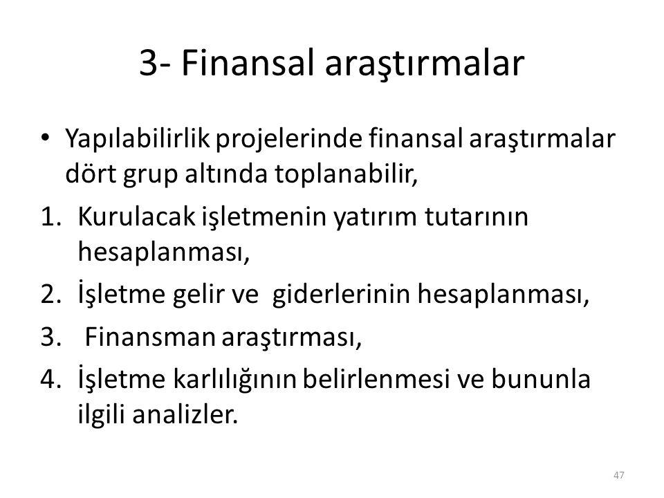 3- Finansal araştırmalar