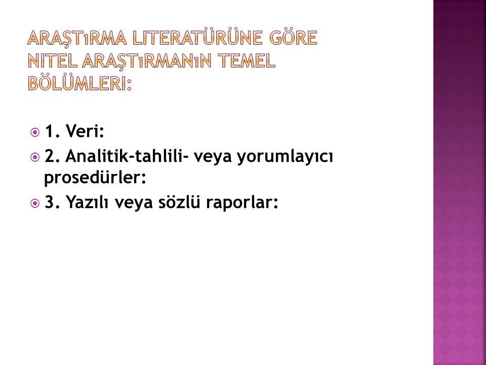 Araştırma literatürüne göre nitel araştırmanın temel bölümleri: