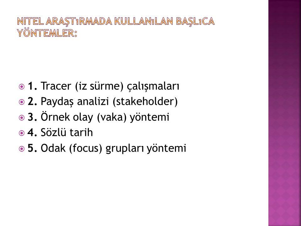 Nitel araştırmada kullanılan başlıca yöntemler: