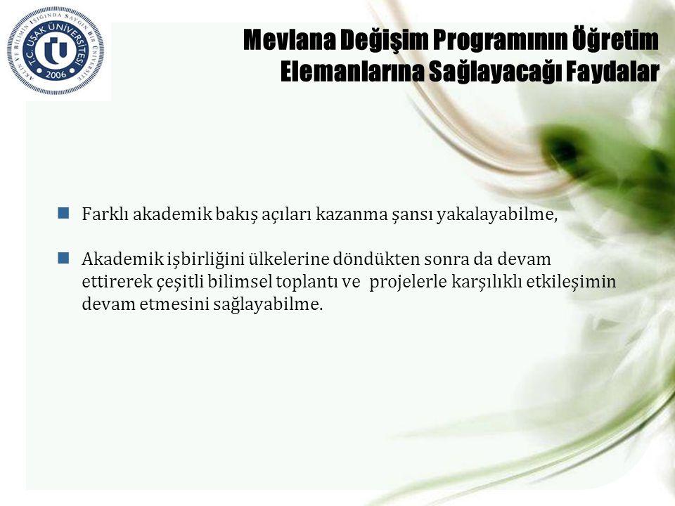 Mevlana Değişim Programının Öğretim Elemanlarına Sağlayacağı Faydalar