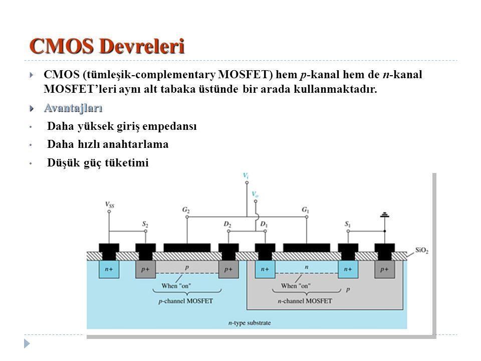 CMOS Devreleri CMOS (tümleşik-complementary MOSFET) hem p-kanal hem de n-kanal MOSFET'leri aynı alt tabaka üstünde bir arada kullanmaktadır.