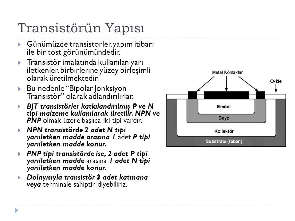 Transistörün Yapısı Günümüzde transistorler, yapım itibari ile bir tost görünümündedir.