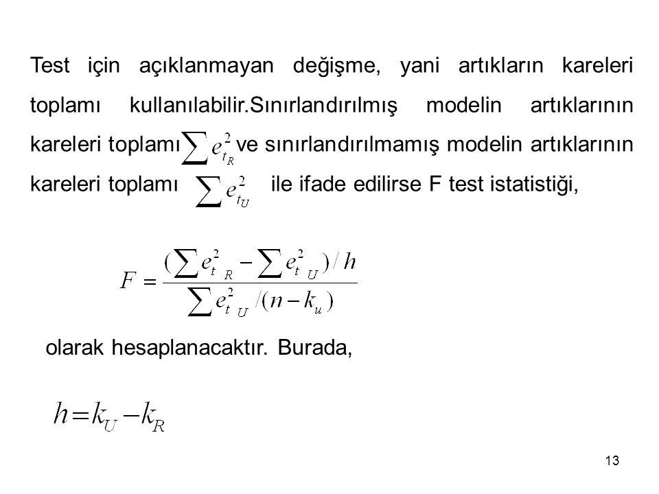 Test için açıklanmayan değişme, yani artıkların kareleri toplamı kullanılabilir.Sınırlandırılmış modelin artıklarının kareleri toplamı ve sınırlandırılmamış modelin artıklarının kareleri toplamı ile ifade edilirse F test istatistiği,