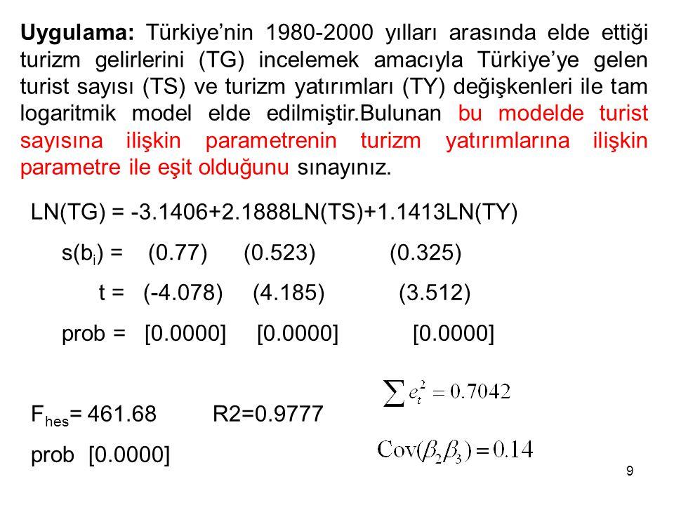 Uygulama: Türkiye'nin 1980-2000 yılları arasında elde ettiği turizm gelirlerini (TG) incelemek amacıyla Türkiye'ye gelen turist sayısı (TS) ve turizm yatırımları (TY) değişkenleri ile tam logaritmik model elde edilmiştir.Bulunan bu modelde turist sayısına ilişkin parametrenin turizm yatırımlarına ilişkin parametre ile eşit olduğunu sınayınız.