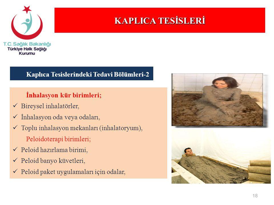 KAPLICA TESİSLERİ Kaplıca Tesislerindeki Tedavi Bölümleri-2