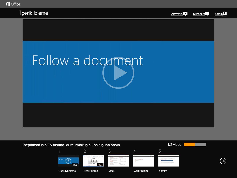 İçerik izleme Alt yazılar. Takip ettiğiniz öğe, takip edilen belgeler listenizde gösterilir.