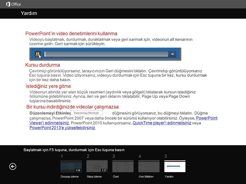 Yardım Yardım PowerPoint'in video denetimlerini kullanma