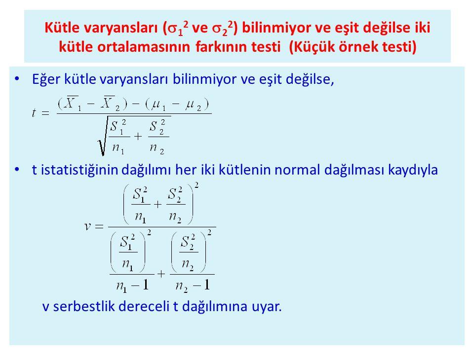 Kütle varyansları (12 ve 22) bilinmiyor ve eşit değilse iki kütle ortalamasının farkının testi (Küçük örnek testi)