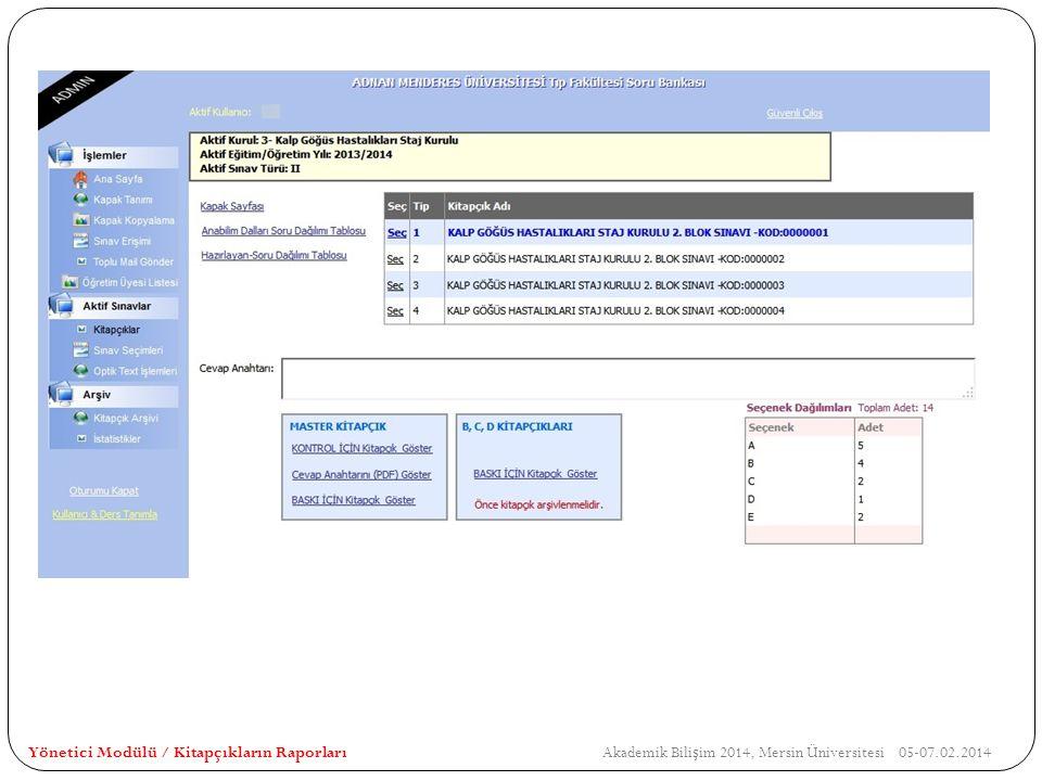 Yönetici Modülü / Kitapçıkların Raporları Akademik Bilişim 2014, Mersin Üniversitesi 05-07.02.2014