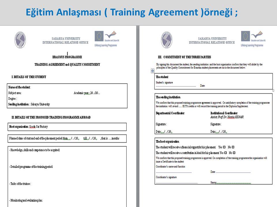 Eğitim Anlaşması ( Training Agreement )örneği ;