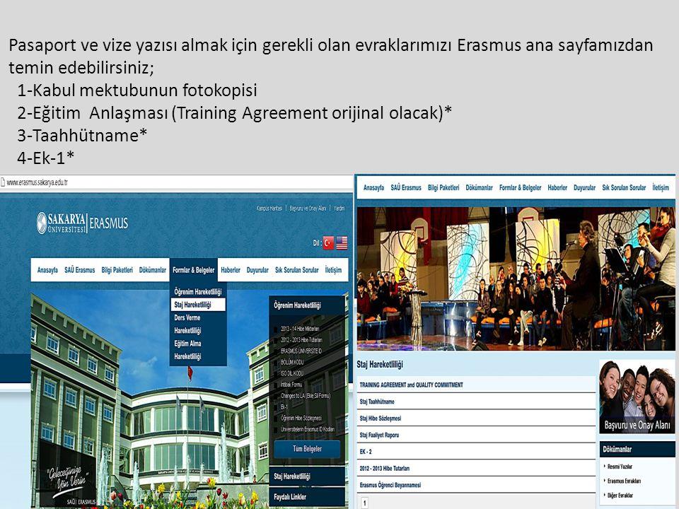 Pasaport ve vize yazısı almak için gerekli olan evraklarımızı Erasmus ana sayfamızdan temin edebilirsiniz;