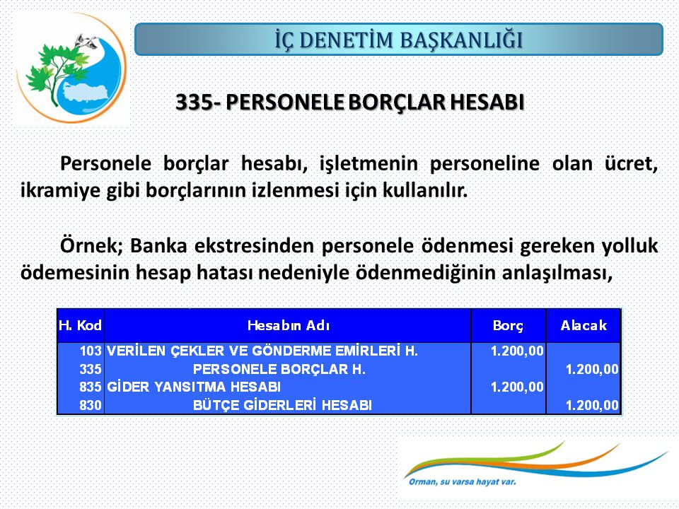 335- PERSONELE BORÇLAR HESABI
