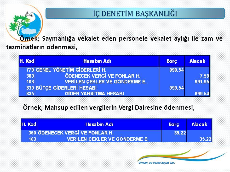 Örnek; Saymanlığa vekalet eden personele vekalet aylığı ile zam ve tazminatların ödenmesi,