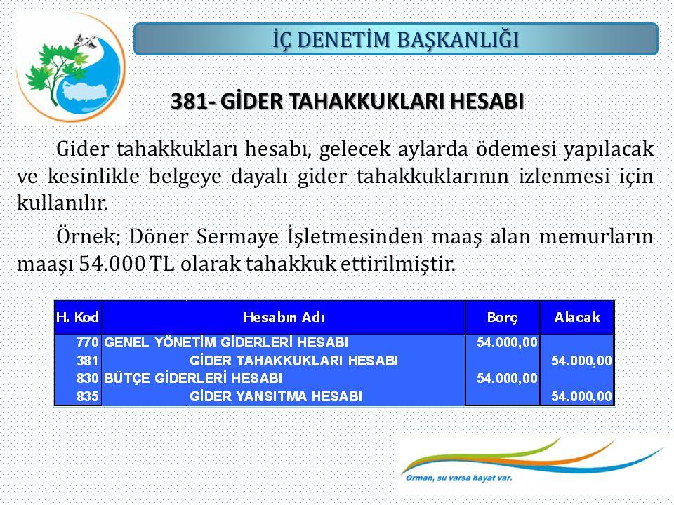 381- GİDER TAHAKKUKLARI HESABI