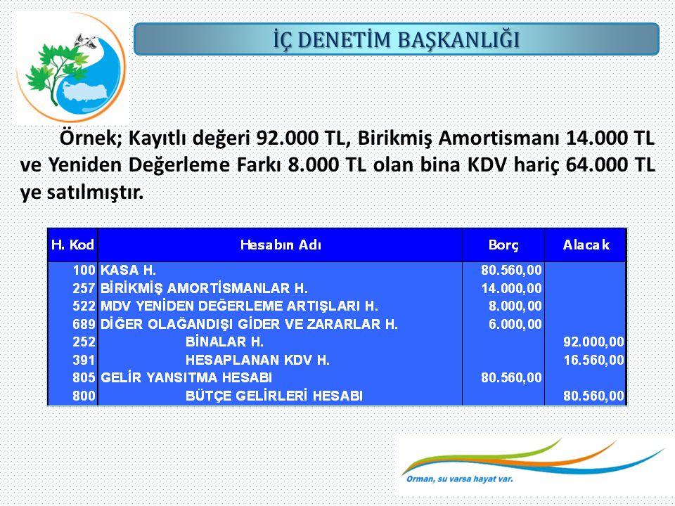 Örnek; Kayıtlı değeri 92. 000 TL, Birikmiş Amortismanı 14
