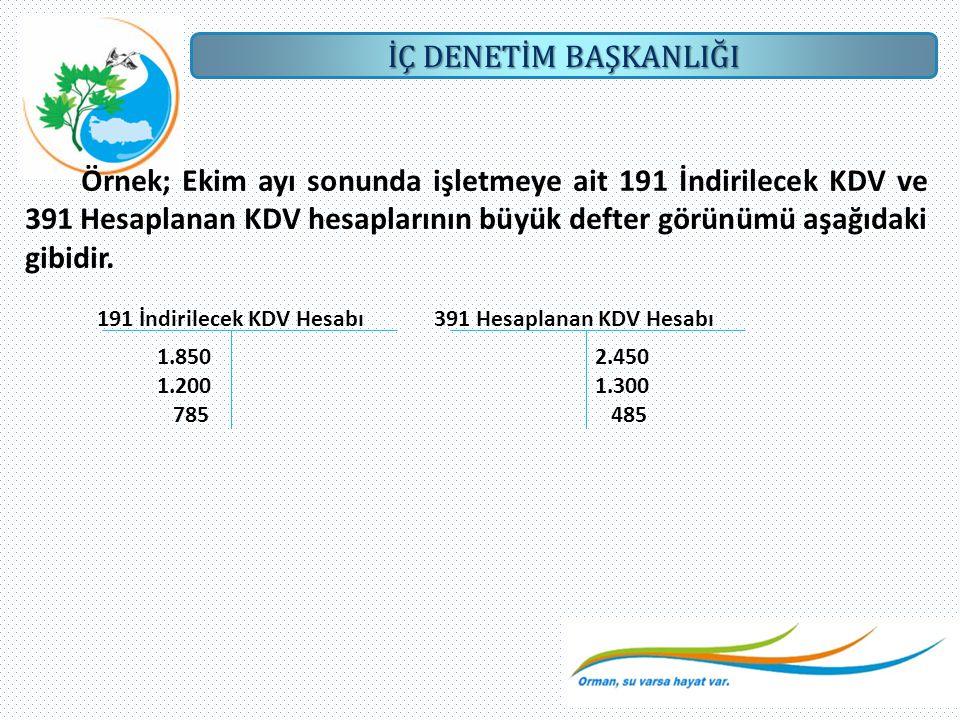 Örnek; Ekim ayı sonunda işletmeye ait 191 İndirilecek KDV ve 391 Hesaplanan KDV hesaplarının büyük defter görünümü aşağıdaki gibidir.