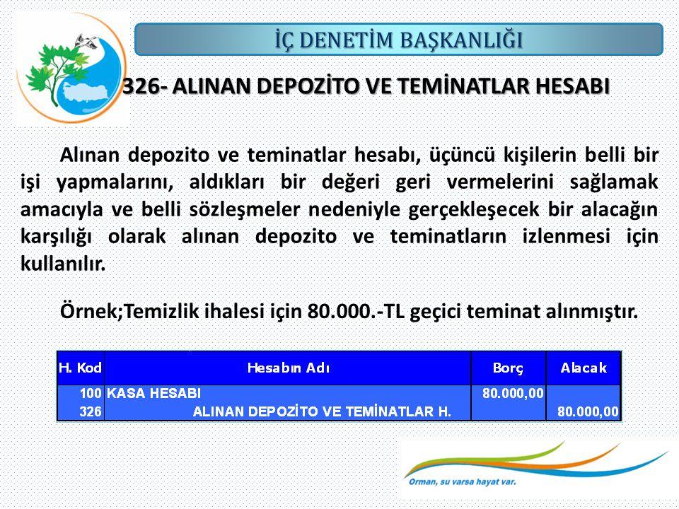 326- ALINAN DEPOZİTO VE TEMİNATLAR HESABI