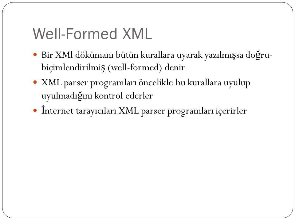 Well-Formed XML Bir XMl dökümanı bütün kurallara uyarak yazılmışsa doğru- biçimlendirilmiş (well-formed) denir.