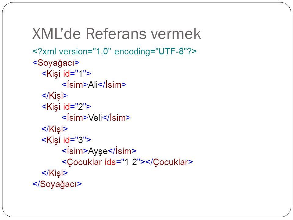 XML'de Referans vermek