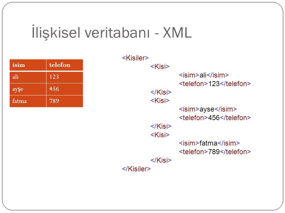 İlişkisel veritabanı - XML