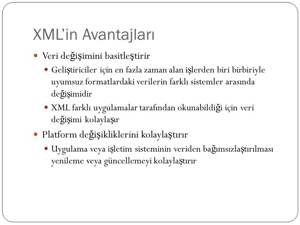 XML'in Avantajları Veri değişimini basitleştirir