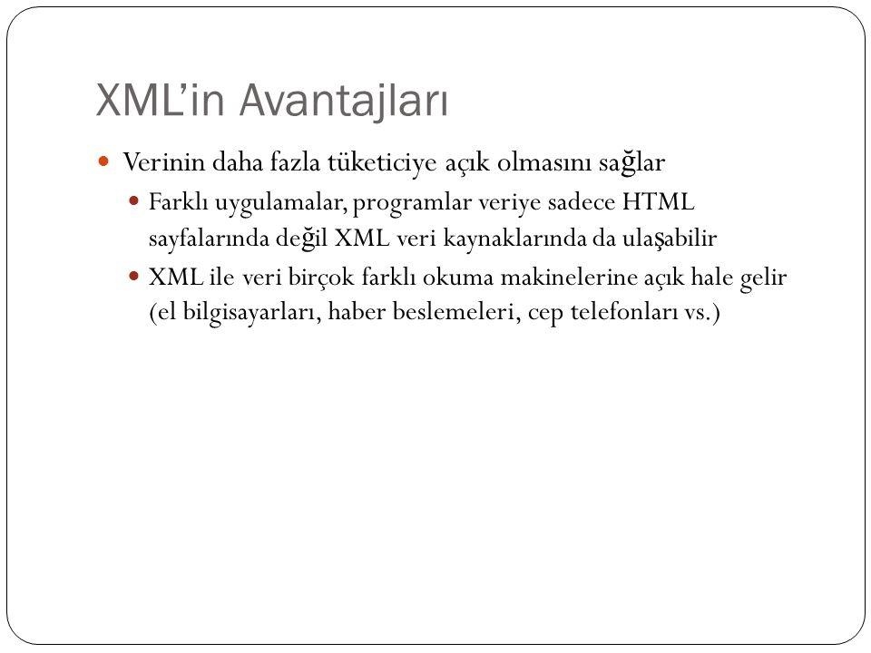 XML'in Avantajları Verinin daha fazla tüketiciye açık olmasını sağlar