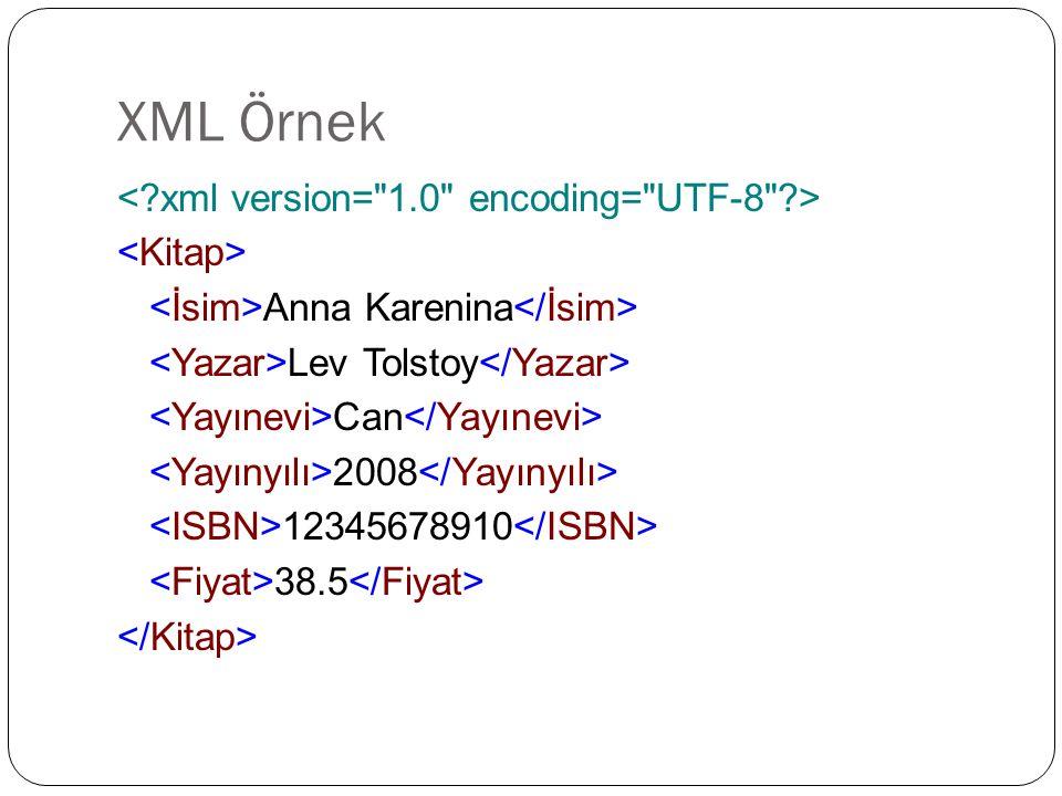 XML Örnek < xml version= 1.0 encoding= UTF-8 > <Kitap>