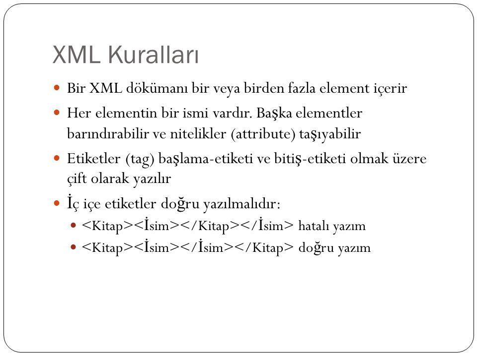 XML Kuralları Bir XML dökümanı bir veya birden fazla element içerir