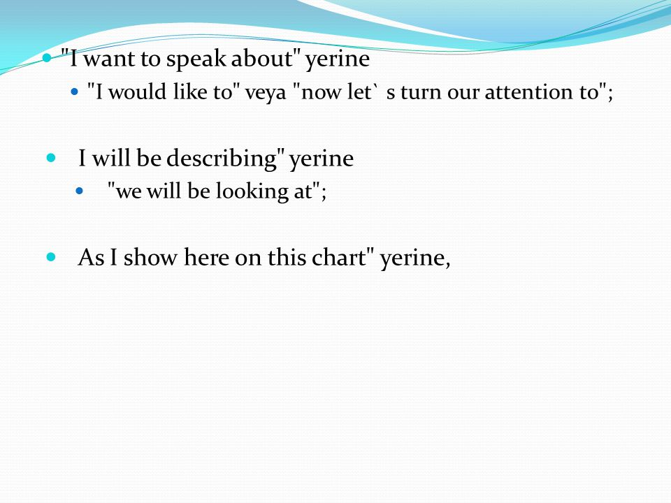 I want to speak about yerine
