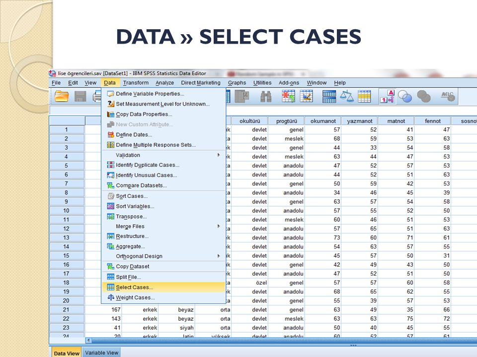 DATA » SELECT CASES