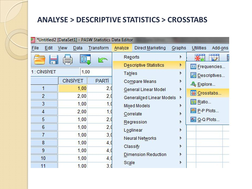 ANALYSE > DESCRIPTIVE STATISTICS > CROSSTABS