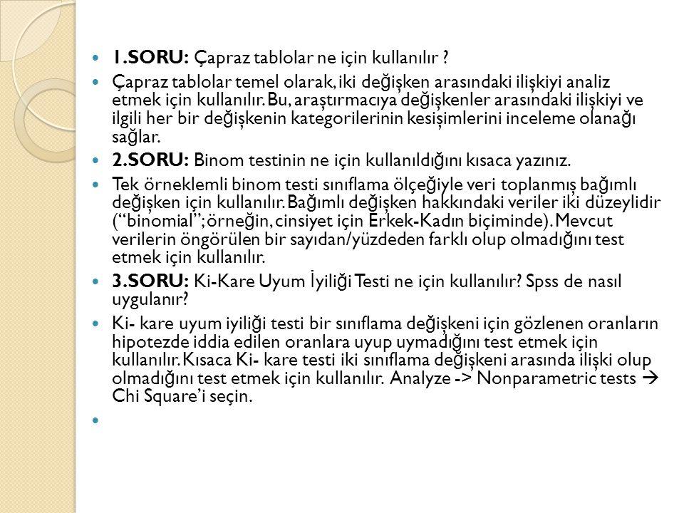 1.SORU: Çapraz tablolar ne için kullanılır