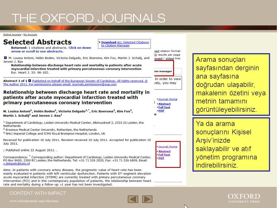 Arama sonuçları sayfasından derginin ana sayfasına doğrudan ulaşabilir, makalenin özetini veya metnin tamamını görüntüleyebilirsiniz.