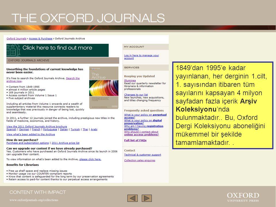 1849'dan 1995'e kadar yayınlanan, her derginin 1. cilt, 1
