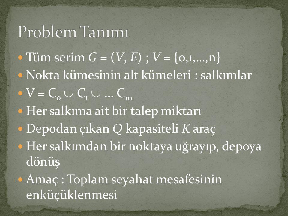 Problem Tanımı Tüm serim G = (V, E) ; V = {0,1,…,n}