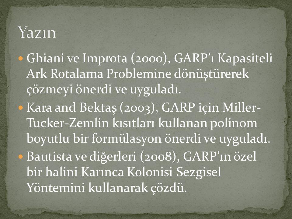 Yazın Ghiani ve Improta (2000), GARP'ı Kapasiteli Ark Rotalama Problemine dönüştürerek çözmeyi önerdi ve uyguladı.