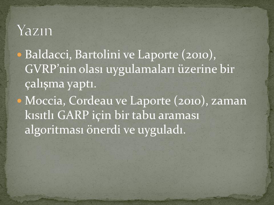 Yazın Baldacci, Bartolini ve Laporte (2010), GVRP'nin olası uygulamaları üzerine bir çalışma yaptı.
