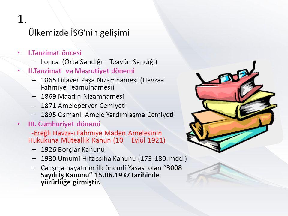 1. Ülkemizde İSG'nin gelişimi I.Tanzimat öncesi