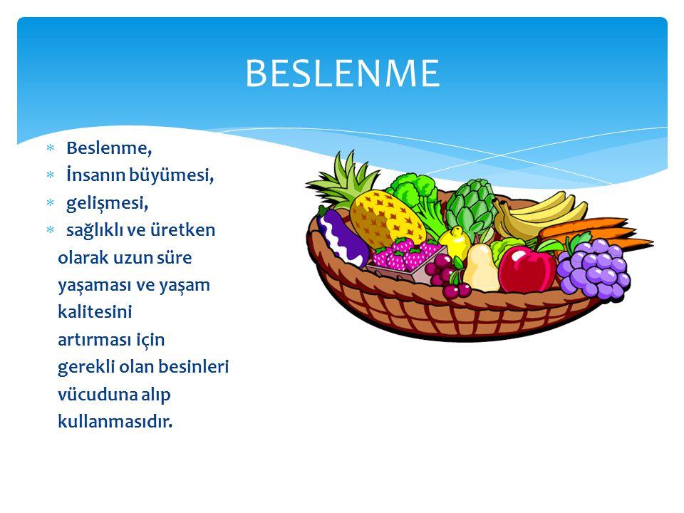 BESLENME Beslenme, İnsanın büyümesi, gelişmesi, sağlıklı ve üretken
