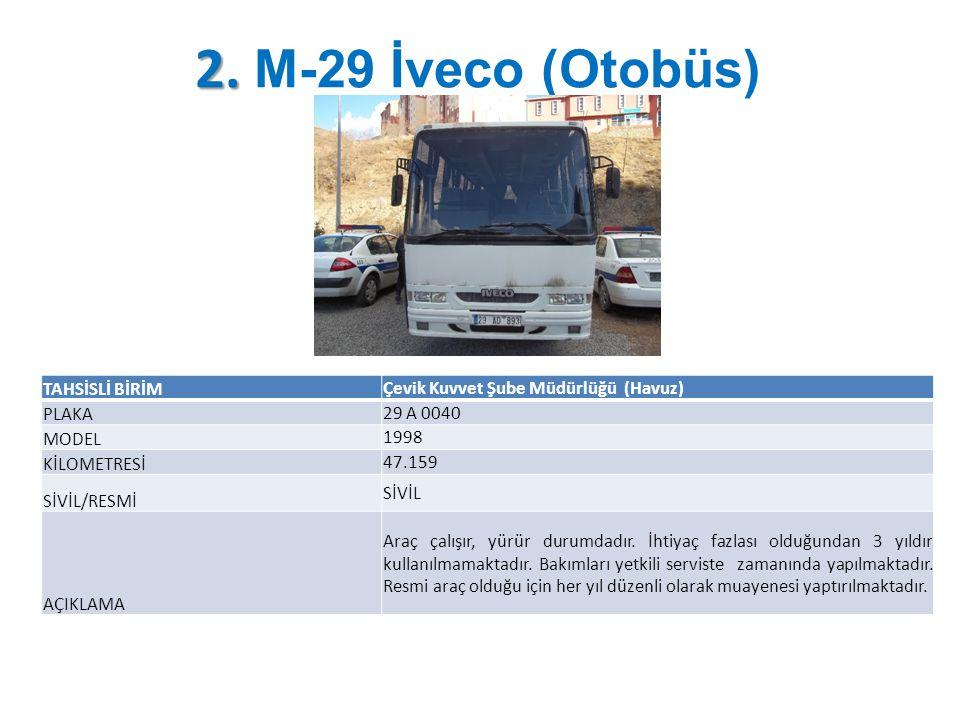 2. M-29 İveco (Otobüs) TAHSİSLİ BİRİM