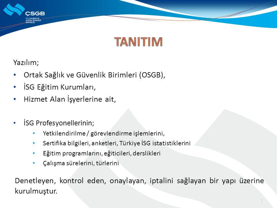 TANITIM Yazılım; Ortak Sağlık ve Güvenlik Birimleri (OSGB),