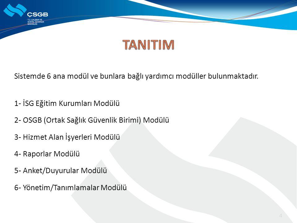 TANITIM Sistemde 6 ana modül ve bunlara bağlı yardımcı modüller bulunmaktadır. 1- İSG Eğitim Kurumları Modülü.