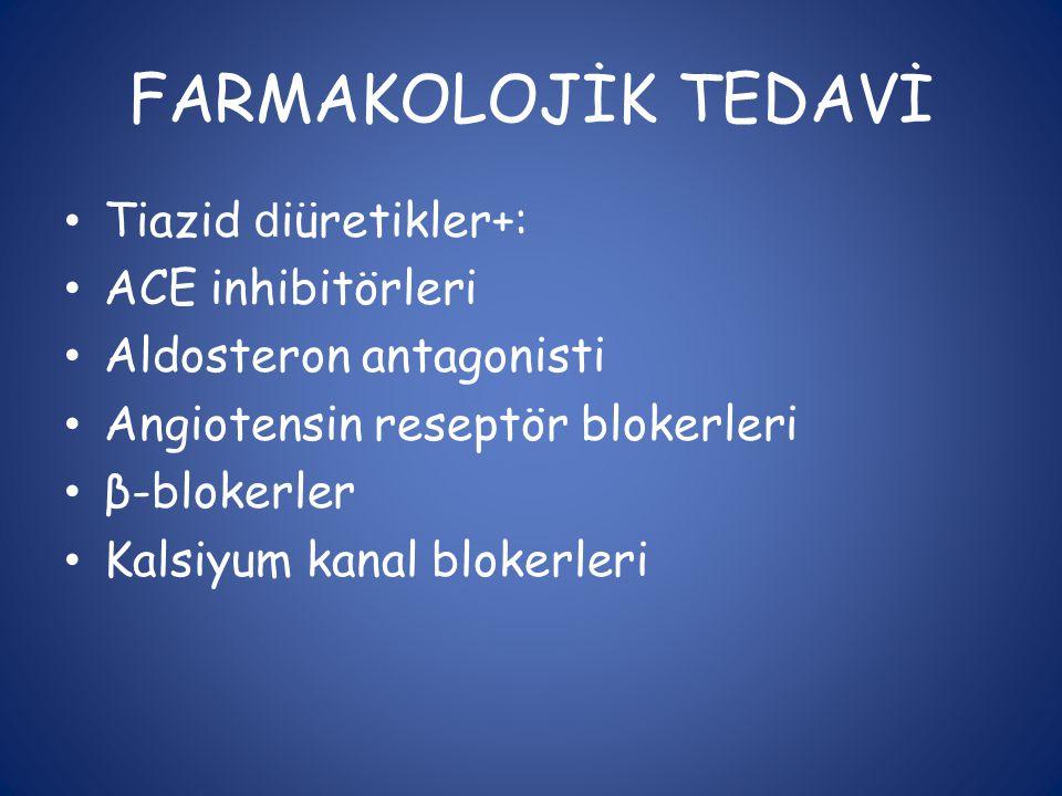FARMAKOLOJİK TEDAVİ Tiazid diüretikler+: ACE inhibitörleri