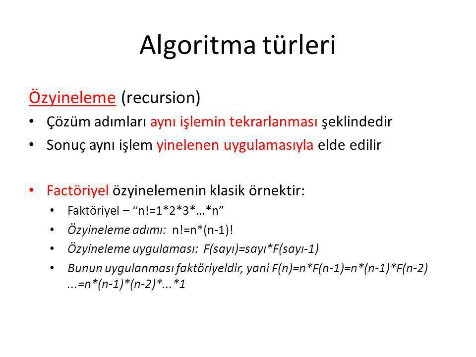 Algoritma türleri Özyineleme (recursion)